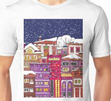 Doodle town in winter Unisex T-Shirt