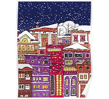 Doodle town in winter Poster