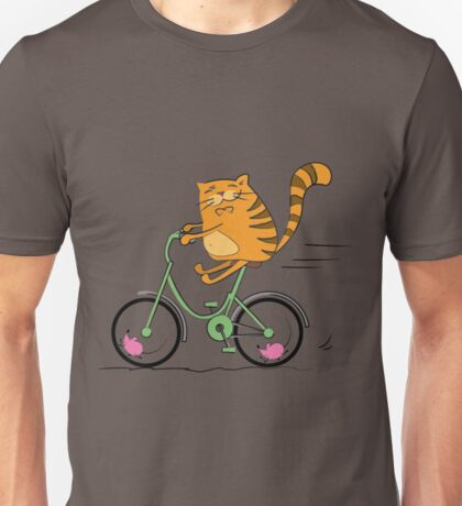 Funny cat on bicycle and mouse Unisex T-Shirt