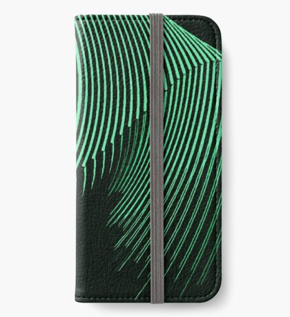 Green waves, line art, curves, abstract pattern 2 iPhone Wallet/Case/Skin