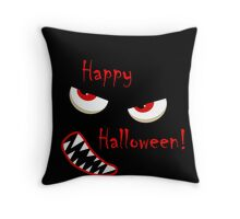Happy Halloween - red eyes monster Throw Pillow