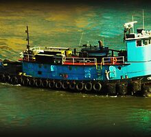 Little Blue Tug - New York City by Miriam Danar