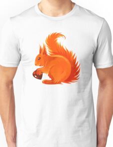 Orange Squirrel Holding Nut Unisex T-Shirt