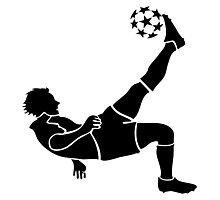Soccer Mid-Air Kick Silhouette Photographic Print