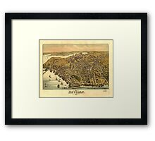 Vintage Pictorial Map of Beverly MA (1886) Framed Print