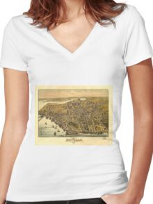 Vintage Pictorial Map of Beverly MA (1886) Women's Fitted V-Neck T-Shirt