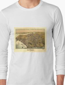 Vintage Pictorial Map of Beverly MA (1886) Long Sleeve T-Shirt