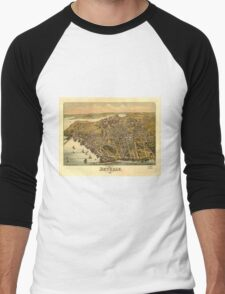 Vintage Pictorial Map of Beverly MA (1886) Men's Baseball ¾ T-Shirt