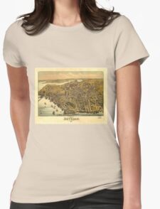 Vintage Pictorial Map of Beverly MA (1886) Womens Fitted T-Shirt