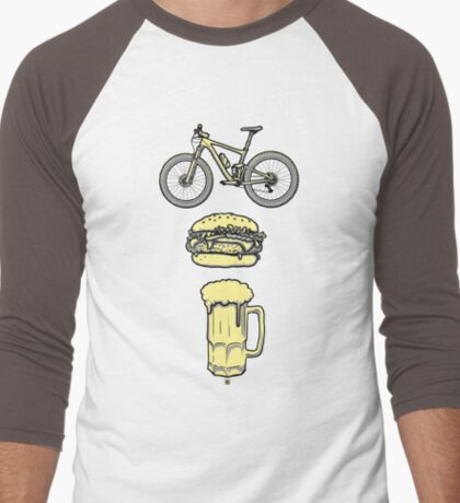 Bike, Burger & Beer Men's Baseball ¾ T-Shirt
