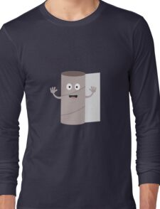 Empty Toilet paper roll with face Long Sleeve T-Shirt