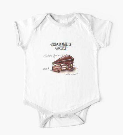 Chocolate Cake Slice Illustration One Piece - Short Sleeve