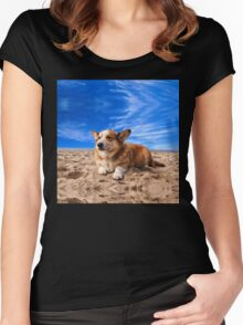 Welsh Corgi on the Beach Women's Fitted Scoop T-Shirt