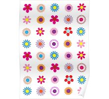 Colorful Flowers Pattern Poster