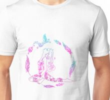 yoga girl with feathers and butterfly mandala Unisex T-Shirt