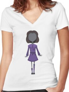 Scary Doll Girl Women's Fitted V-Neck T-Shirt