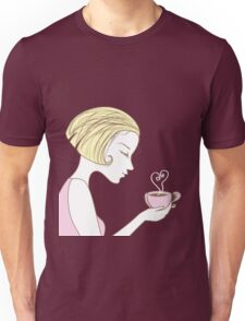 beautiful girl with a cup of coffee Unisex T-Shirt