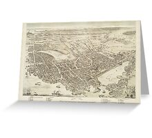 Vintage Pictorial Map of Portsmouth NH (1877) Greeting Card