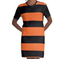 Halloween Stripes - Black and Orange Graphic T-Shirt Dress