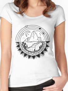 Space Mountain / white Women's Fitted Scoop T-Shirt
