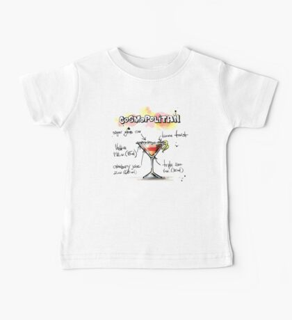 Cosmopolitan Cocktail Illustration with Recipe Baby Tee