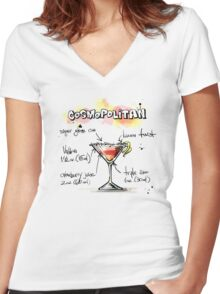 Cosmopolitan Cocktail Illustration with Recipe Women's Fitted V-Neck T-Shirt