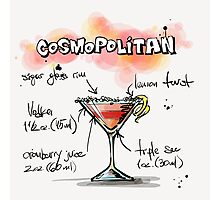 Cosmopolitan Cocktail Illustration with Recipe Photographic Print