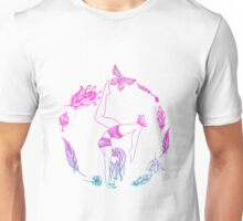 yoga girl with feathers and butterfly mandala 4 Unisex T-Shirt