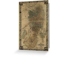 Map of Boston 1852 Greeting Card