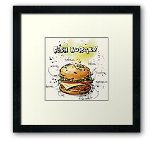 Fish Burger Watercolored Illustration Framed Print