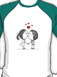 Couple in love together, valentine sketch for your design T-Shirt