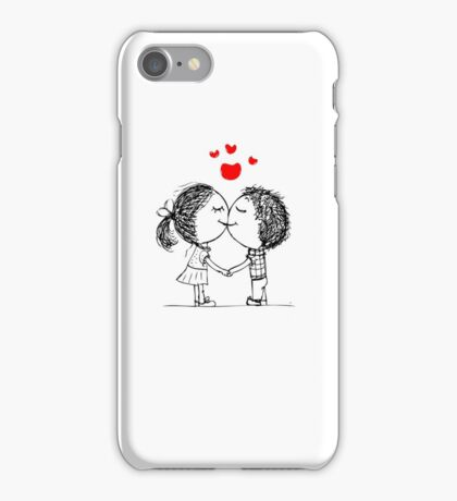 Couple in love together, valentine sketch for your design iPhone Case/Skin