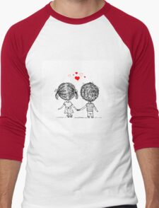 Couple in love together, valentine sketch for your design Men's Baseball ¾ T-Shirt