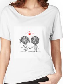 Couple in love together, valentine sketch for your design Women's Relaxed Fit T-Shirt