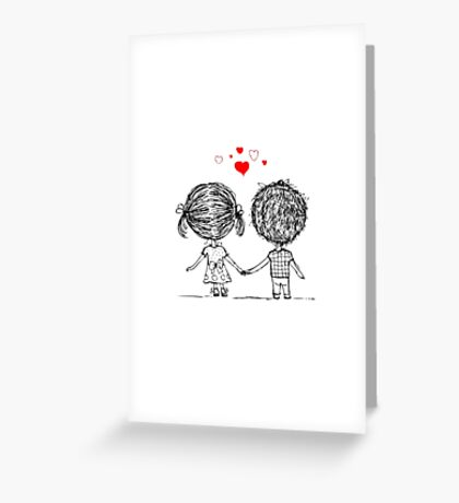 Couple in love together, valentine sketch for your design Greeting Card