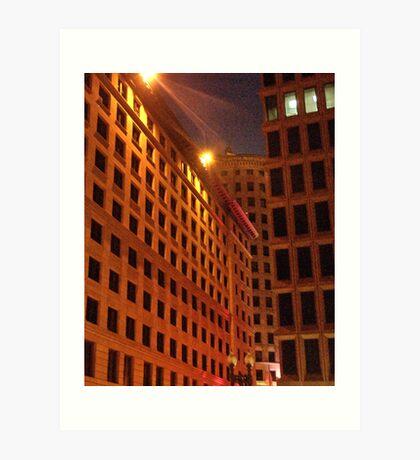 Downtown at night Art Print