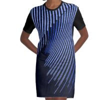 Blue waves, line art, curves, abstract pattern 2 Graphic T-Shirt Dress