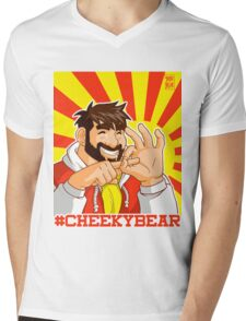 ADAM LIKES BEING CHEEKY Mens V-Neck T-Shirt