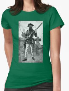 Blackbeard at attention with rifle  Womens Fitted T-Shirt
