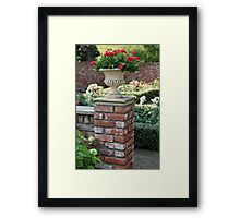 garden vase with red roses Framed Print