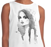 Romantic girl. Watercolor painting. Black and white Contrast Tank