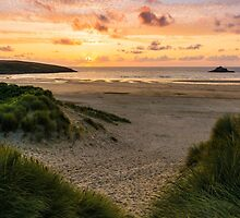 Crantock Sunset in the Dunes by John Dunbar
