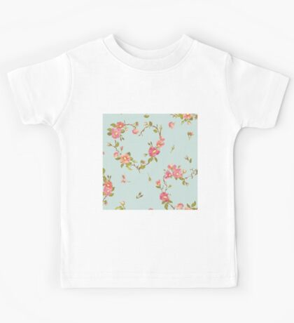 Shabby chic,floral,flowers,on pale blue,turquoise,background,elegant,chic,beautiful,feminine,soft,pretty,preppy,country chic Kids Tee