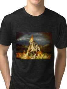 Smoking monocled cat with a top hat riding a flaming unicorn Tri-blend T-Shirt