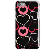 Black and Pink Hearts Pattern iPhone Case/Skin