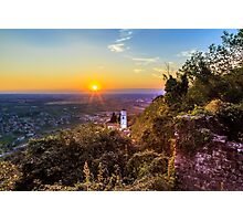 Sunset from a hill with a church down to the vineyards Photographic Print