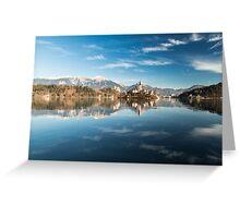 morning at the lake of Bled Greeting Card