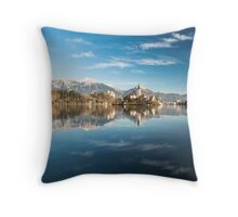 morning at the lake of Bled Throw Pillow