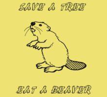 Save a tree, eat a beaver! Kids Tee
