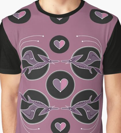 Flying dinosaurs black and pink print  Graphic T-Shirt
